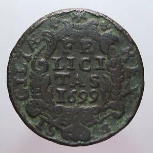 GRANO 1699 PALERMO MB-BB - CARLO II - PERIZIA NIP GRIMOLDI