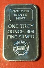 Golden State Mint {Commercial Assayers Bar} 1 Troy oz.999 Fine Silver