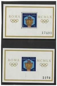 Costa Rica 1960 Olympics Perf & Imperf Stamp Mini Sheets Scott C313 MUH 14-20
