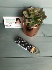 Mini Black/White Stars Style Wristlet Keyring, keyfob, keychain, gift, keys