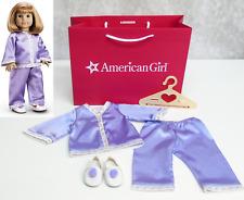American Girl Doll Clothes NELLIE'S PAJAMAS Pom Pom SLIPPERS HANGER Purple PJS