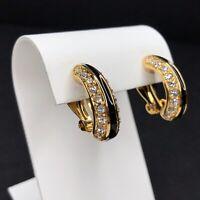 Swarovski Clip On Earrings Half Hoop Huggie Gold Tone Black Crystal Swan Signed