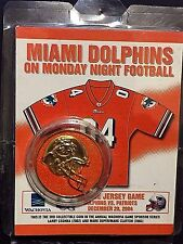 MIAMI DOLPHINS vs PATRIOTS Orange Jersey Commem COIN Monday Night Football NEW
