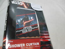 "New Disney Jay Franco & Sons Star Wars Fabric Shower Curtain 72""x72"" Red/Black"