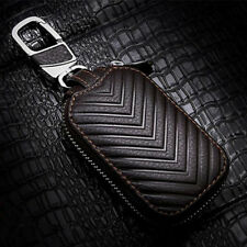 1x Dark Brown Smart FOB Remote Case Car Key Chains Holder Real Leather Universal