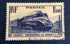 France N° 340 1f50 Bleu Obli. TB Côté 8,50€