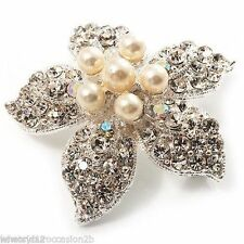 Pearl (Imitation) Silver Plated Costume Brooches & Pins