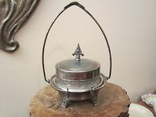 Antique Rockford Silver Quadruple Plate Covered Butter Dish Gothic Ornate
