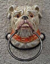 PUG DOG HEAD Design Cast Iron Painted TOWEL RING   ~  BULLDOG  ~