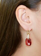 "Yellow Gold Red Swarovski Elements Pendant ""Touch"" Earrings Oliver Weber"