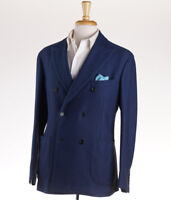 NWT $2195 BELVEST Woven Navy Blue Double-Breasted Cotton Sport Coat 40 R