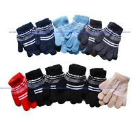 Kids Boys Girls Stripe Stretchy Magic Warm Gloves One Size Fits Most 12 Pairs NY