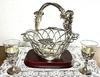 Godinger Silver Plated Grape Vine Wire Basket And Pair Silver Plate Mini Goblets