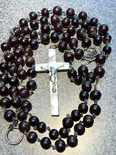 """Giant Rosary Marked Bethlehem Wood Beads Mother Of Pearl Crucifix 47"""" Vintage"""