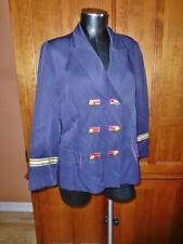 Vtg LILLIE RUBIN Navy Gold Buttons Metallic Trim Military dress JACKET Blazer 12