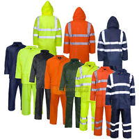 Hi Vis Viz Rainsuit Jacket Trouser Waterproof Hooded PVC Unisex Rain Wear Set