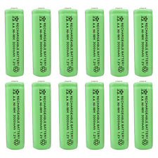 12 x AA 2A 3000 (Actual 300mAh) 1.2V Ni-MH NiMH Rechargeable Battery Cell Green