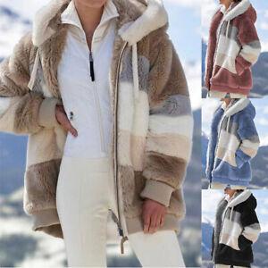 Womens Winter Thick Jacket Plush Hooded Coat Outwear Warm Zipper Pocket Overcoat
