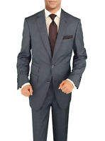 Signature Italian Wool Silk Mens Suit French Blue