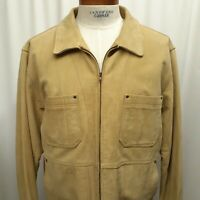 The Territory Ahead Tan Leather Coat Jacket plaid flannel lining Size XLT Zip Up