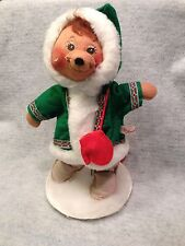 "12"" AnnaLee 88 Green Christmas Doll 1984 - WIth Stand & red gloves"