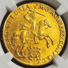 """1760, Netherlands, Gelderland. Gold 14 Gulden """"Golden Rider"""" Coin. NGC MS-61!"""