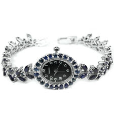 Sterling Silver 925 Stunning Genuine Natural Rich Blue Sapphire Watch 7 Inch