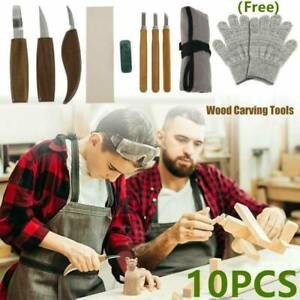 10x Wood Carving tools Chisel Woodworking Whittling Cutter Chip Hand Tool kits