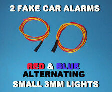 FAKE CAR ALARM LED LIGHT ~ 3mm ~ CHROME  RED & BLUE ALTERNATING 12v 24v