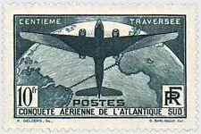 "FRANCE N°321 ""TRAVERSEE AERIENNE DE L'ATLANTIQUE SUD, 10 F"" NEUF xxTTB"