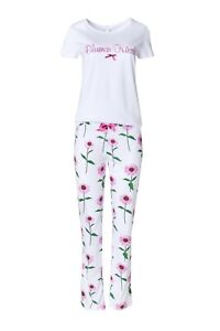 """LOUIS & LOUISA  """" Blumen-Küsse """" Pyjama  weiß allover Gr. S  - XXL NEU"""