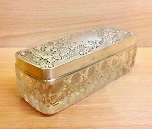 Edwardian Solid Silver Lidded Cut Glass Casket William Aitken Birmingham 1905