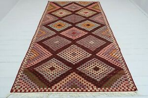 "Turkish Kilim Rug, Modern Kelim, Floor Rug, Wool Rug 63""X114"" Area Rugs, Carpet"