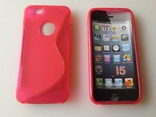 Pink Apple iPhone 5 Schutz Hüllen SILIKON CASE Handy Tasche Cover
