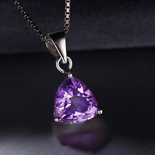 1.6ct Natural Trillion Amethyst Necklace Pendant 925 Silver special occasion