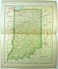 Original 1902 Map of Indiana by Dodd Mead & Company. Antique