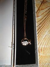 Swarovski Austria Cute Fish Design Pendant Necklace Rose Gold Plated