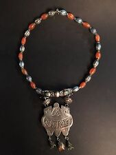 antique chinese silver, enamel and agate beads necklace