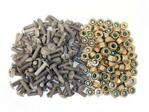 100 Pairs of Aluminum Nuts & Bolts 10-32 FLAT HEAD LOCK NUT AIRCRAFT