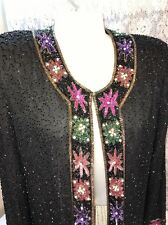 Laurence Kazar Lined Beaded Jacket womens No Sz Tag Black holiday Party