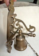 "small Front Door Bell pull chain solid aged brass old vintage style 8 "" hang B"