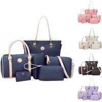 6PCS Women Shoulder Bag PU Leather TOTE HANDBAG Messenger HOBO Bags Wallet Purse