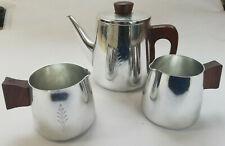 Set of Retro Vintage 60s Sona Aluminium Teapot & 2 Milk Jugs with teak handles