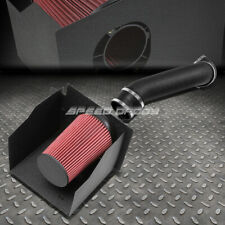FOR 03-09 HUMMER H2 6.0/6.2 WRINKLE FINISH AIR INTAKE ALUMINUM PIPE+HEAT SHIELD
