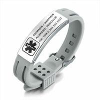 Grey Band Women Men Kid Medical Alert Bracelet Silicone Wristband Personalized