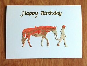 Lovely colourful horse and rider birthday card by Sarah Sample Art
