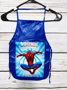 Spider-Man Boys Blue Vinyl Apron Cooking Crafts Handmade Mandil