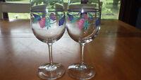 Lenox Poppies on Blue Wine Glasses Water Goblets 2 12 ounce elegant stems