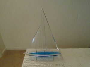1997 ARTIST SIGNED BLUE & CLEAR LUCITE ACRYLIC SAILBOAT SCULPTURE