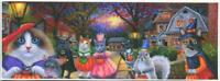 ACEO HALLOWEEN QUAINT STREET TRICK OR TREATING CATS GRAY SQUIRREL MOUSE PRINT